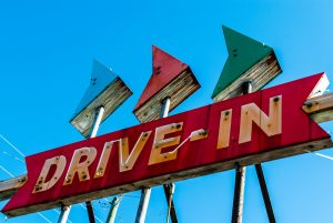 Drive- in theater sign.