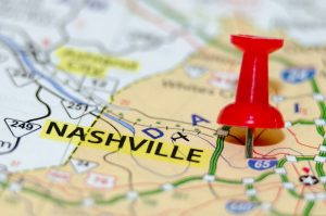 Nashville pinned on a map.