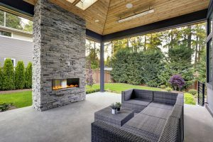 Apartment patio with fireplace