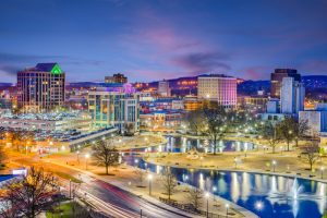 Scenic view of Downtown Huntsville at night