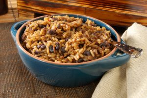 Bowl of black beans and rice