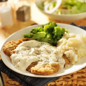 Plate of country fried steak