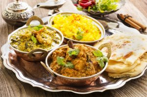 Indian food on table.