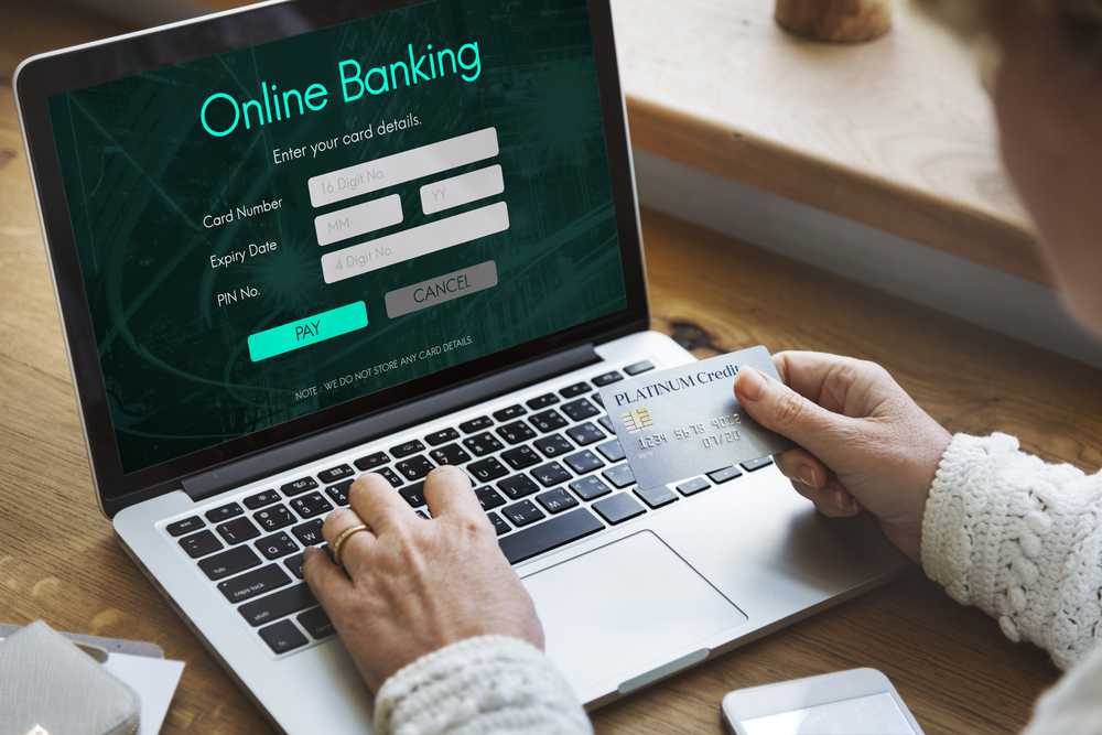 Online banking sit on computer.