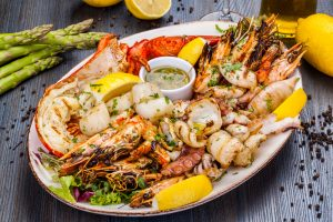 Platter of various seafood