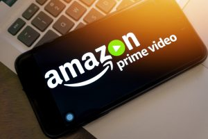 phone with amazon prime video screen