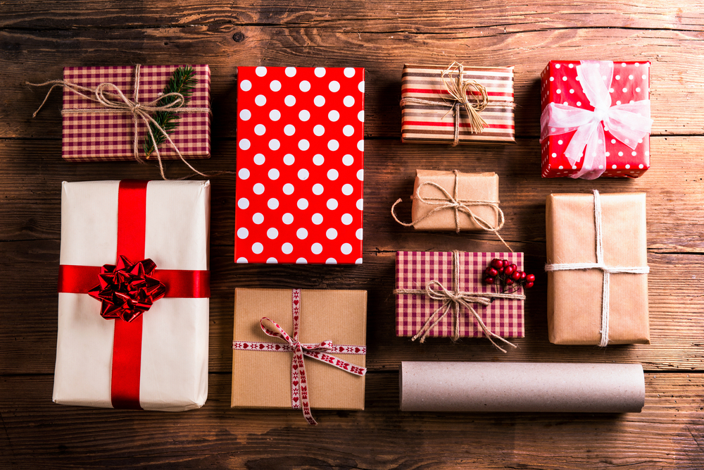 Christmas gifts on a table.