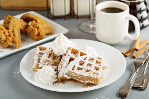 French toast cinnamon waffles with fried chicken