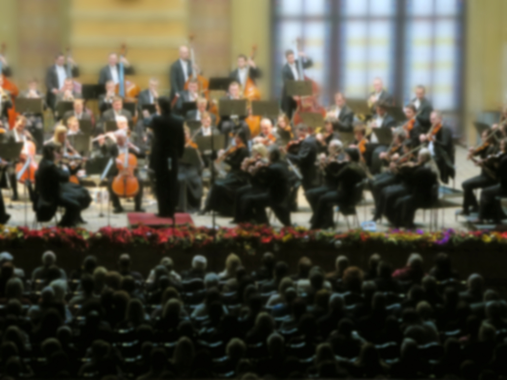 Soft focus shot of orchestra and audience.