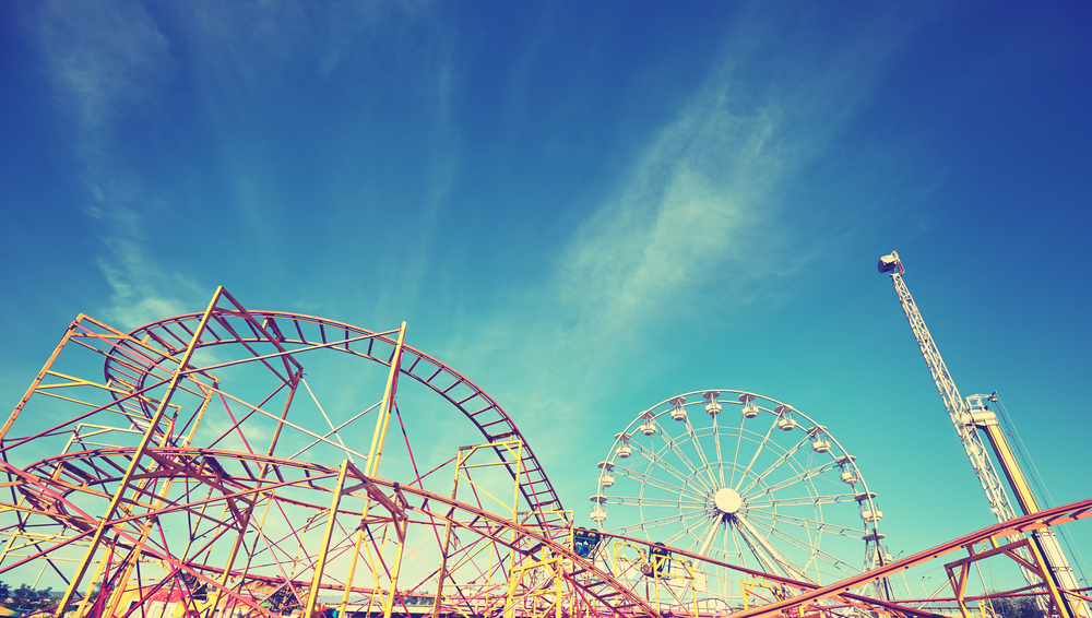 roller coaster and ferris wheel.