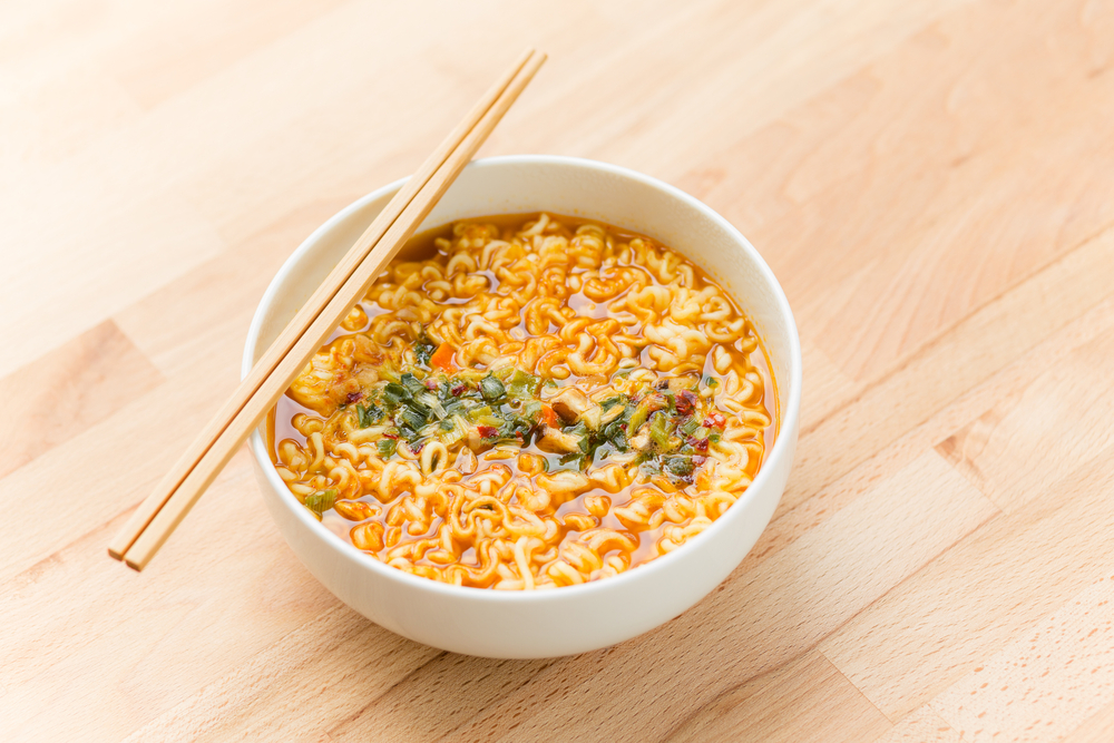 Spicy Asian instant noodles.