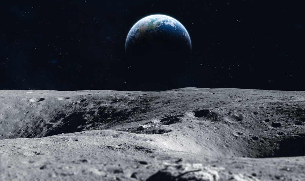 Earth seen from lunar surface.