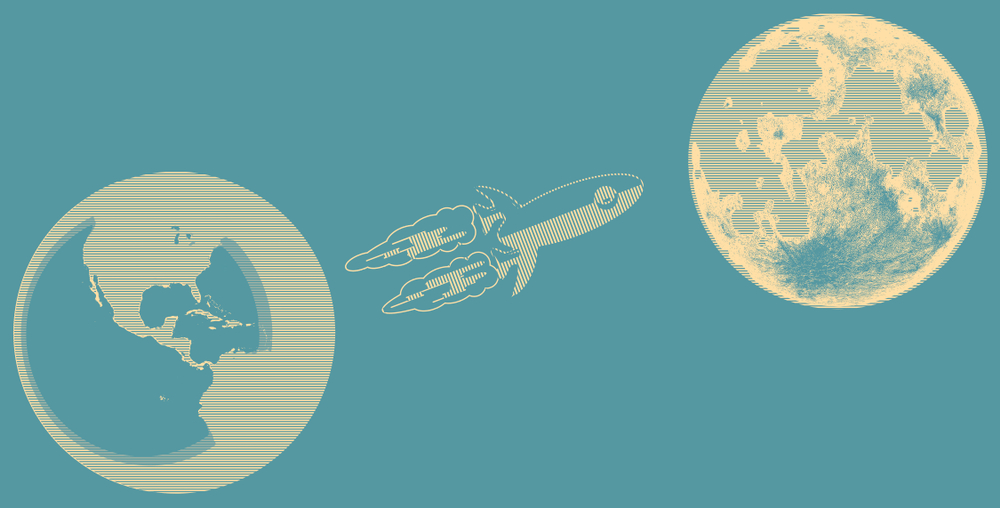 Illustrated rocket approaches moon.