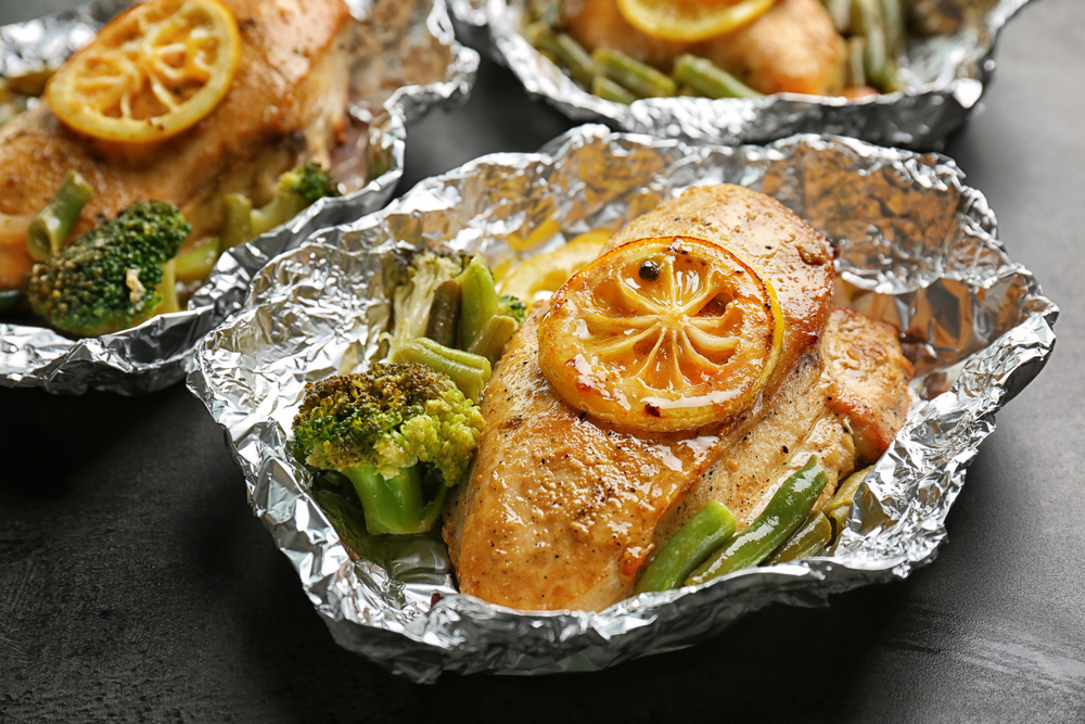 grilled chicken and veggies in foil packet.