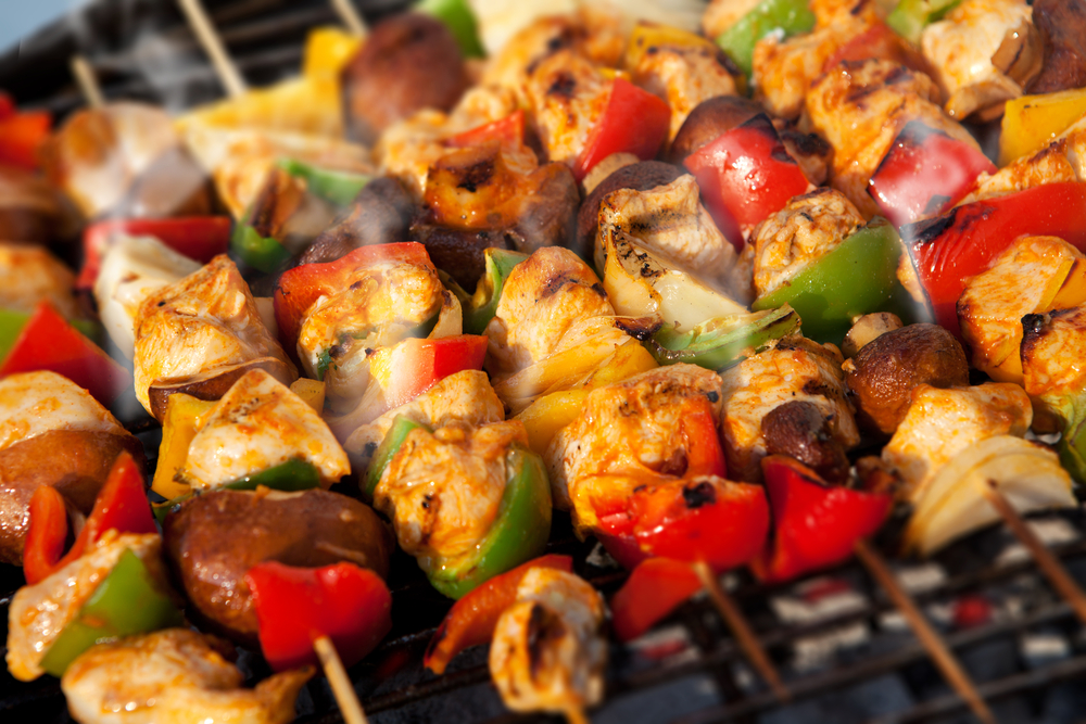 chicken kebabs on grill.
