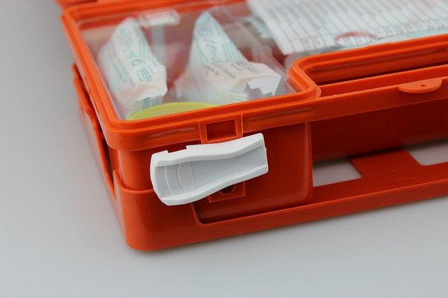 red first aid kit.