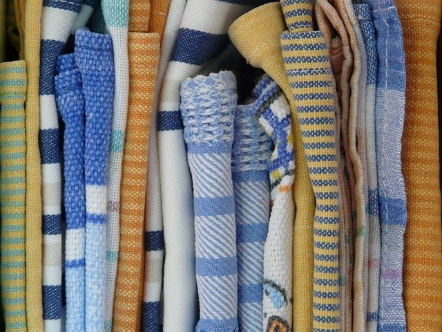 dishtowels in various patterns.