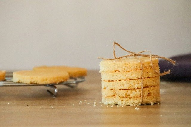 Stack of shortbread cookies tied up with twine.