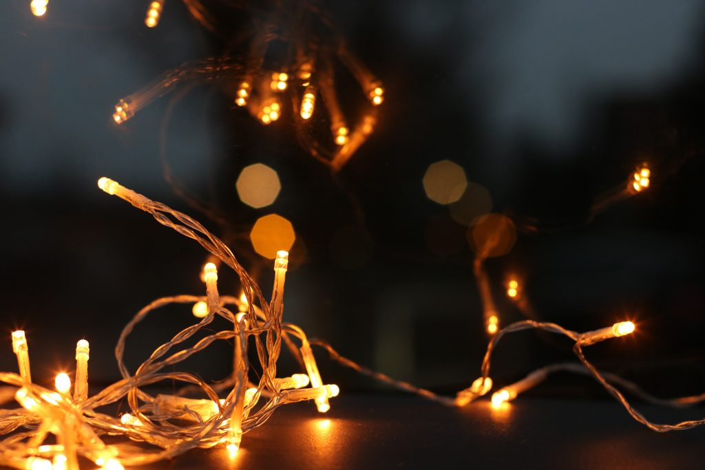 Close-up of glowing string lights.