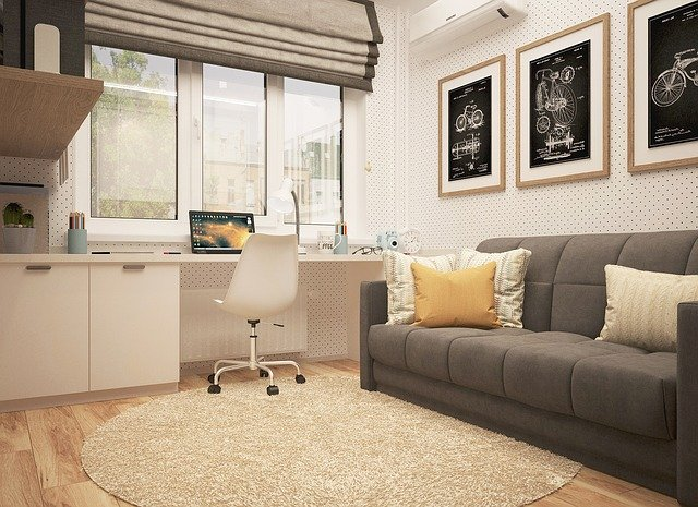 Couch and built-in desk in apartment